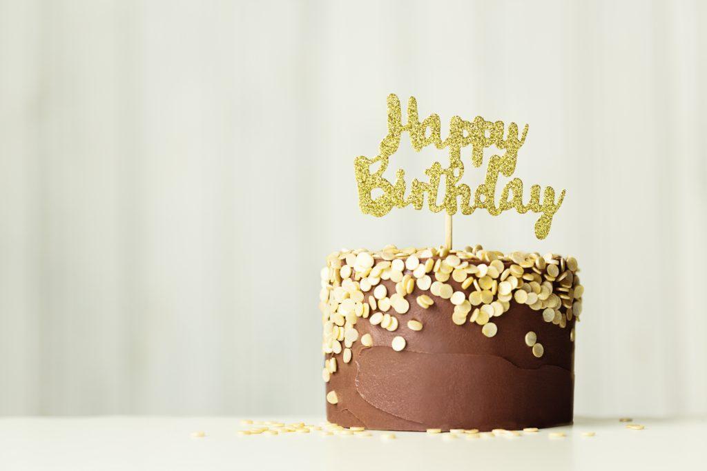 Chocolate and gold birthday cake