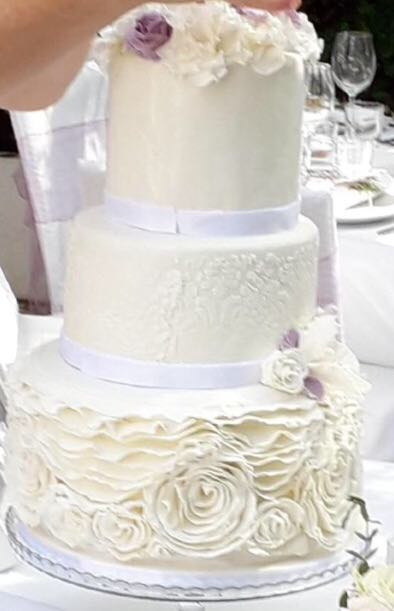 3 Tier ruffled wedding cake