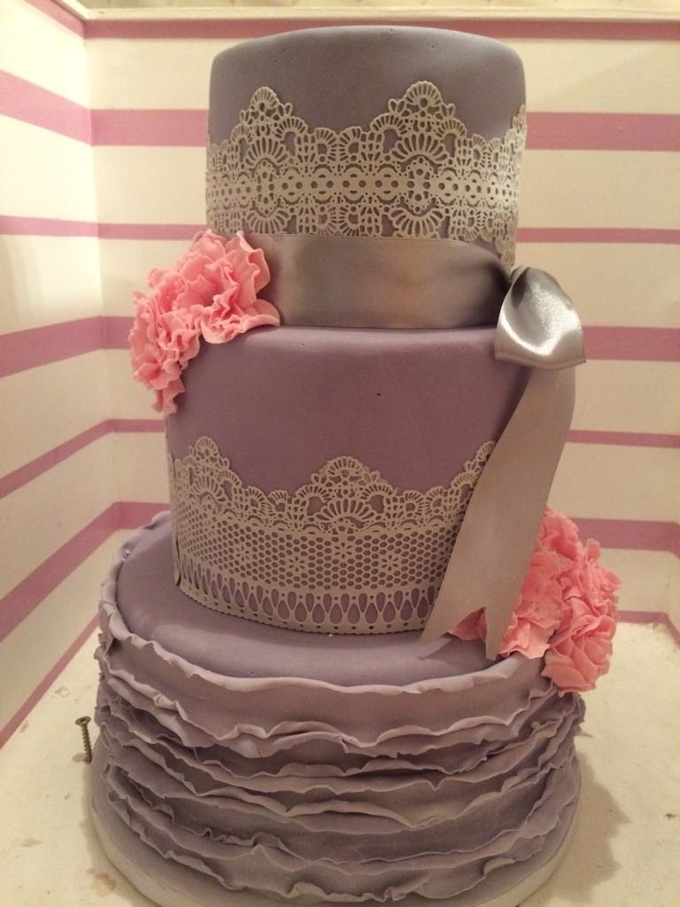 3 tier grey wedding cake